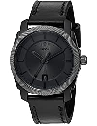 Fossil Men's FS5265 Machine Three-Hand Date Black Leather Watch