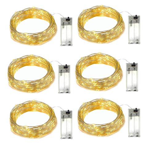 LED String Lights 6 PACKS battery string lights 5ft 15Led indoor and outdoor Fairy Lights 2AA Battery Holder operated for Home Garden Party Decoration lights(6PACKS-WARM WHITE)