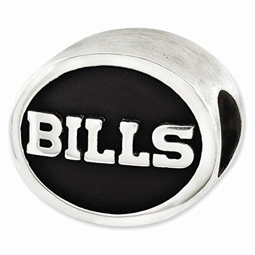 Mia Diamonds 925 Sterling Silver LogoArt Enameled Buffalo Bills NFL Bead Charm for Charm Bracelet