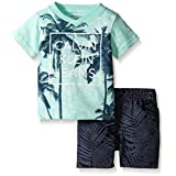 Calvin Klein Baby Boys' Jersey Tee and Rip-Stop Canvas Shorts, Multi, 12 Months