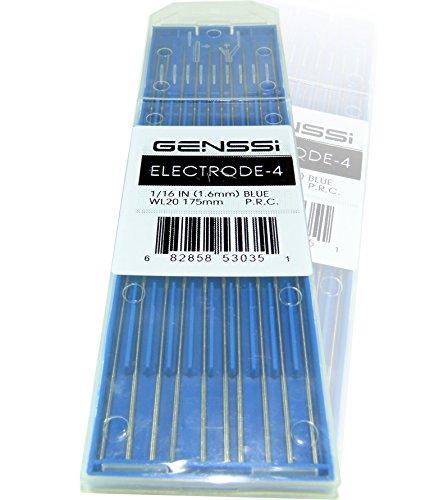 GENSSI TIG Welding Tungsten Electrode 175mm (7') (1/16 (1.6mm) inch blue WL20)