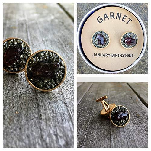 Garnet January Birthstone Cuff link, Raw Rough Stone, birthstone gift for boyfriend, gift for man, boss gift. anniversery gift