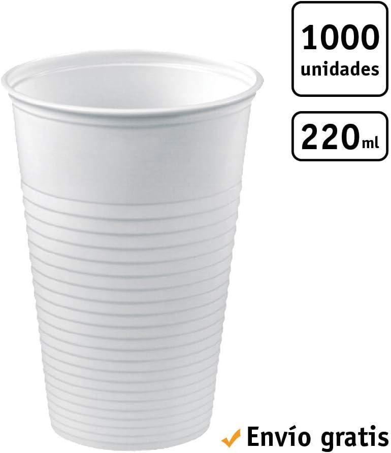TELEVASO - 1000 uds - Vaso de plástico Color Blanco para Agua, de Polipropileno (PP) - Capacidad de 220 ml - Desechables y reciclables - Ideal para Bebidas frías como Agua, refresco, zumos