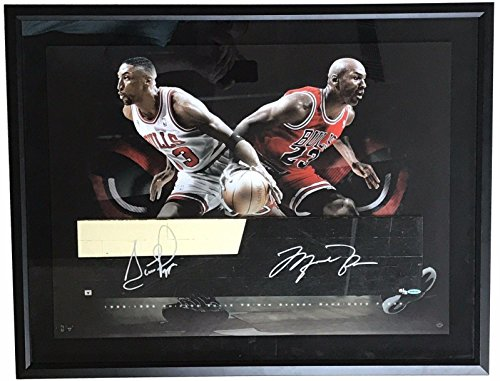 MICHAEL JORDAN & SCOTTIE PIPPEN Signed GU Chicago Bulls Floor LE 13/72 - Upper Deck Certified - Autographed Game Used NBA (Chicago Bulls Floor)