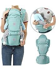 Babytrage, Ergonomische Babytrage, InnoBeta Baby und Kindertrage, Bauchtrage mit Abnehmbarer Hüftsitz, Breiten Schultergurt, Winddichte Kappe, Abnehmbarer Windschutz