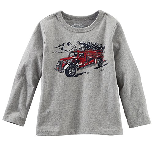 Oshkosh Baby Boys L/s Graphic Tee (18 Months, Grey-firetruck)