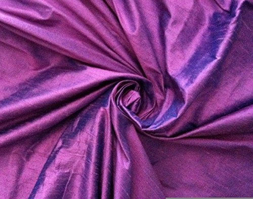 Lavender Purple Turquoise Blue iridescent 100% dupioni silk fabric yardage By the Yard 45