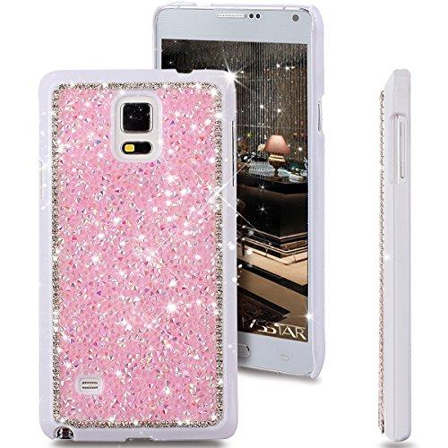 Galaxy Note 4 Case, Beauty Luxury Shiny Sparkle Bling Bling Glitter Handcraft Crystal [Rhinestone Diamond] Hard PC Plated Slim Case Cover Full Cover Protective Case for Galaxy Note 4,Diamond: Pink