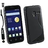 Emartbuy® Stylus Pack For Alcatel One Touch Pixi 3 ( 4.5 ) LCD Screen Protector + Metallic Mini Black Stylus + Ultra Slim Gel Skin Case Cover Black