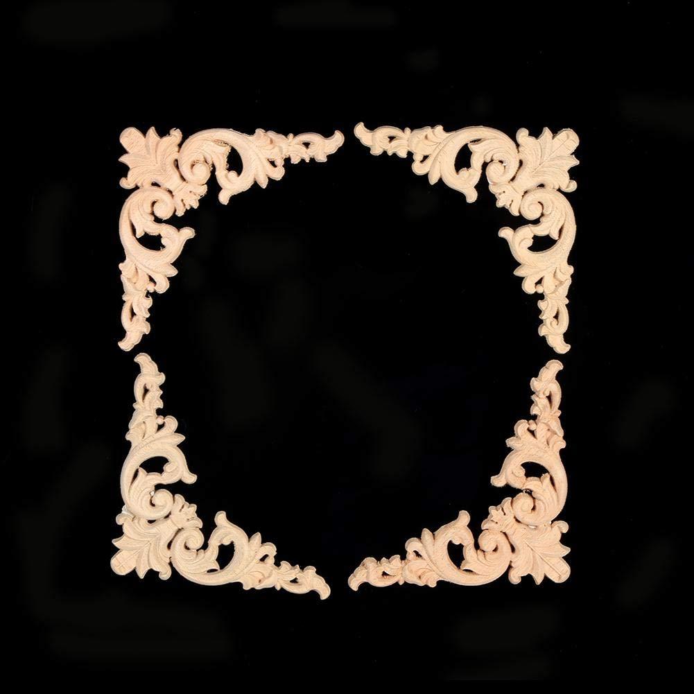 Taidda 12 x 12 cm mobili Appliques Ripiani angolari 1# 4 Pezzi in Legno Intagliato in Legno intarsiato Applique mobili Applique a Forma di Fiore Decorazione Non Verniciata