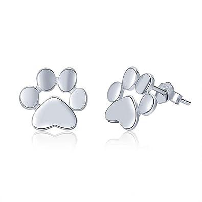Pendientes con forma de huella de perro y gato, plata de ley 925, diseño