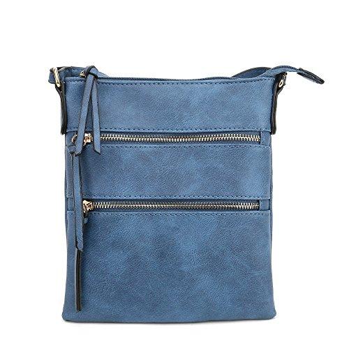 Lily Jane Essential Casual Multi Pocket Crossbody Bag (Blue)