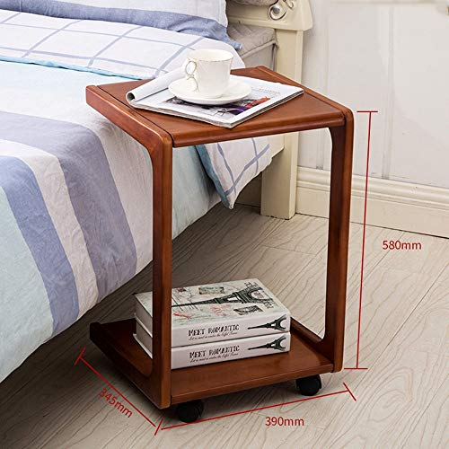 - Yxsd U Shaped Sofa Side Table, Birch Wood Couch Table, Slide Under End Snack Table (Color : Walnut Color)