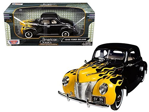 1:18 AMERICAN CLASSICS - 1940 FORD DELUXE WITH FLAME DESIGN 73108AC-BKFLMBY MOTOR MAX