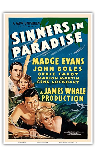 Pacifica Island Art Sinners in Paradise - Starring Madge Evans, John Boles - Universal Pictures - Vintage Film Movie Poster c.1938 - Master Art Print - 13in x (1938 Vintage Movie Photo)