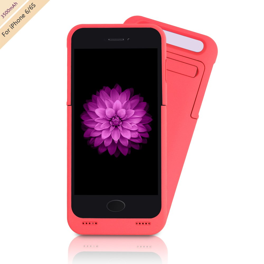 """For iPhone 6/6s Charger Case, BSWHW 3500mAh 4.7"""" iPhone 6/6S Portable Battery Case with Pop-out Kickstand Extended Battery Pack Rechargeable Power Protection case Backup Juice Bank - CK,Pink"""