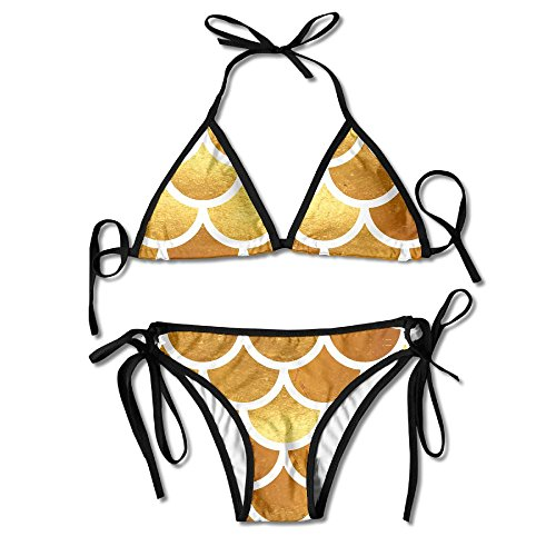 Fashion Women Gold Watercolor Fish Scales Printing Sexy Two-Piece Bikini Set Beach Bathing - Bottom White Top Sunglasses Gold