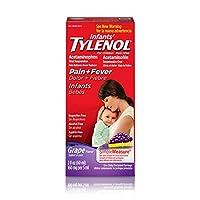 Suspensión oral de Tylenol para bebés, reductor de fiebre y analgésico, uva, 2 fl oz (el paquete puede variar)