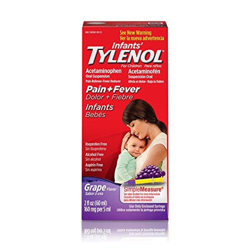 Pain Relief Suspension - Infants' Tylenol Oral Suspension, Fever Reducer and Pain Reliever, Grape, 2 fl oz ( Pack May Vary )