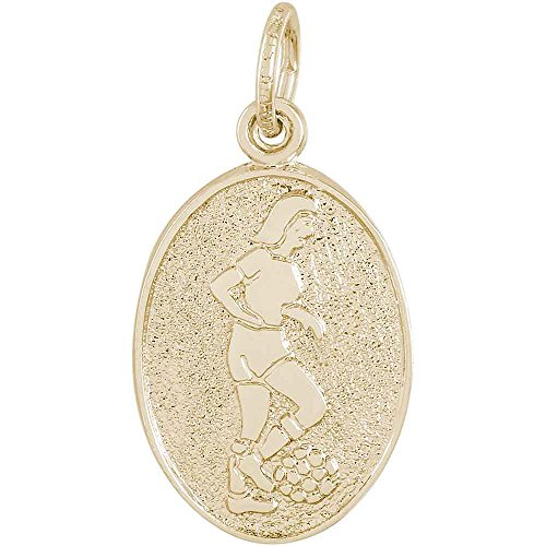 Player Charm Gold Plated (Rembrandt Charms Female Soccer Player Charm, Gold Plated Silver)