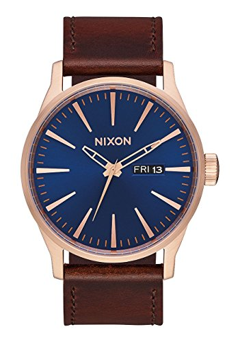 Nixon Men's Sentry Leather Strap Watch, 42mm, Rose Gold/Navy/Brown, One Size