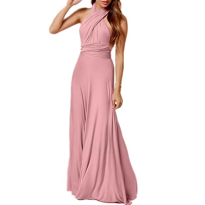 meet 3d0c2 935ee mywy - Abito lungo vestito maxi donna abito cerimonia rosa ...
