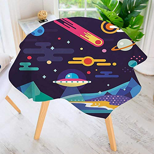 UHOO2018 100% Polyester Printed Table Cloth-Cosmos Universe Themed Solar System Stardust Comet UFO Planetary Illustration Multicolor Ideal for Home, Restaurants, Cafés 59'' Round by UHOO2018
