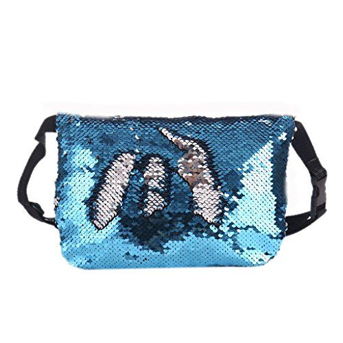 Sport Black Pack Bag Sequins Travel Hip Belt Purse Fanny Pouch Reversible Women JAGENIE Blue Waist fqpxz