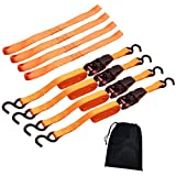 "Cartman 1"" x 15' Ratchet Tie Down up to 1500lbs 4pk in Carry Bag, With 18"" Soft Loop Tie-Down Straps"