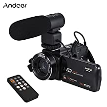 """Andoer HDV-Z20 1080P Full HD 24MP WiFi Digital Video Camera Camcorder with External Microphone 3.0"""" Rotatable LCD Touchscreen Remote Control Support LED Lamp 16X Digital Zoom"""