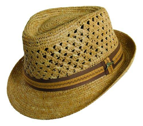 Raffia Fedora Hat (Tommy Bahama Men's Vent Crochet Raffia Fedora Hat,Beige,2XL)