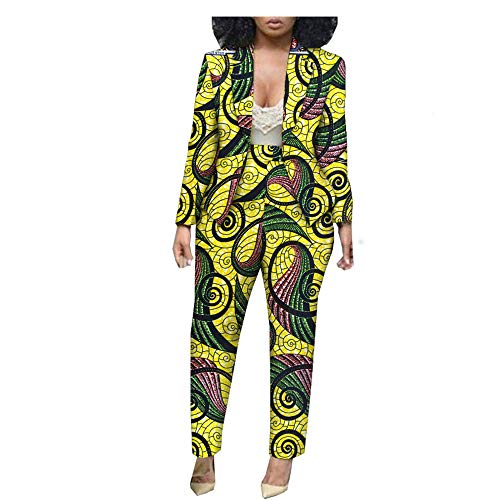 - African Ankara Print Ofice Lady Suit Tailor Made Full Sleeve Jacket+ Full Length Pants 100% Batik Cotton Made AA1826030 319-22J M