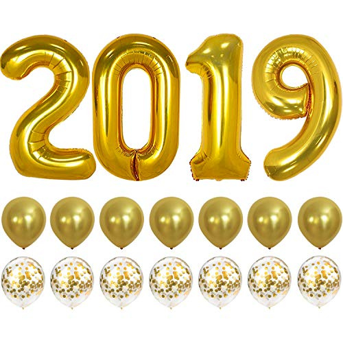 2019 Balloons Gold Confetti Balloon - Graduation Party Supplies 2019 | Graduation Decorations Gold | Large 2019 Balloons with 7 Gold Confetti Balloons and 7 Gold Latex Balloons | Graduation Balloons