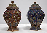 Cloisonne Flower Flora Bird Vase, 6 inches tall X 3 inches in diameter (Pair of Red and Blue)