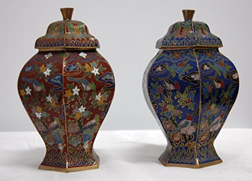 Cloisonne Flower Flora Bird Vase, 6 inches tall X 3 inches in diameter (Pair of Red and Blue) by Feng Shui Master (Image #4)'