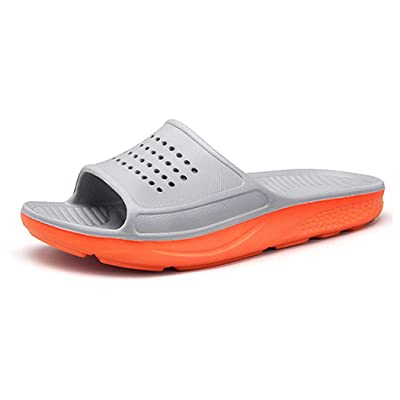 WODEBUY Men's Shower Sandals Antislip Fast Dry Flilp Flop Flats Bathroom and Gym Slider Sandals for Men (10, Gray) | Sport Sandals & Slides