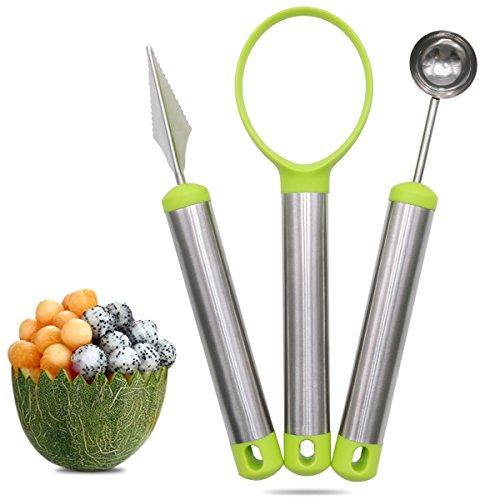 Xcellent Global Melon Baller & Carving Knife & Fruit Scoop 3 Piece Set Stainless Steel for Fruit Slicer Dig Pulp Separator HG204