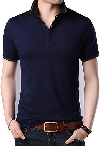 Hombre Camiseta Negra Azul Roja De Los De Los Chic Camiseta Hombres Larga Negra De Los Top De La Moda De Algodón Solapa Floja del Verano De Los: Amazon.es: Ropa y accesorios