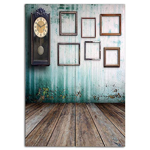 iPrint Door Curtain(Two Panels) Fashion,Clock Decor,A Vintage Clock and Empty Picture Frames in an Old Room Wooden Backdrop,Green and Brown,Personalized Customization,W31.5 xH35.4 by iPrint