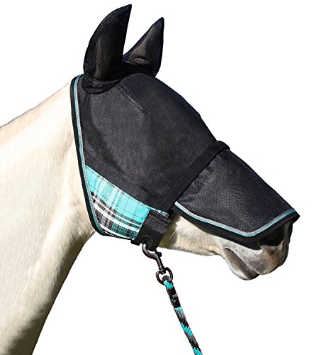 UViator Deluxe Protective Fly Mask and Halter Kensington's Newest UV Solar Screen Protection with a 90% UV Rating — Double Locking CatchMask Fasteners — Non Heat Transferring Fabric