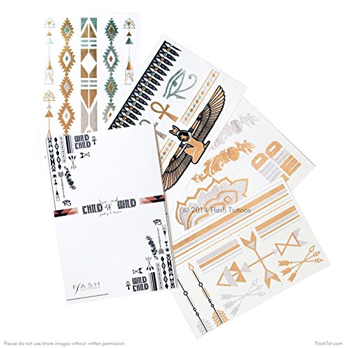 Flash Tattoos CHILD OF WILD Authentic Metallic Temporary Jewelry Tattoos 4 Sheet Pack (Black/gold/silver) Includes over 27 assorted premium bohemian inspired waterproof tattoos