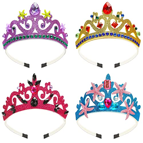 3 otters Princess Crown Set, 4 Pieces Princess Dress Up Costume Princess Tiaras for Little Girls Party Crown for Kids Halloween Accessories