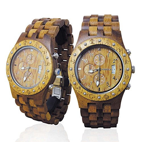 HANDMADE WOODEN WATCH MADE WITH HAWAIIAN KOA WOOD AND HAWAIIAN MANGO WOOD - KAHALA BRAND # 11-A by Hula Girl