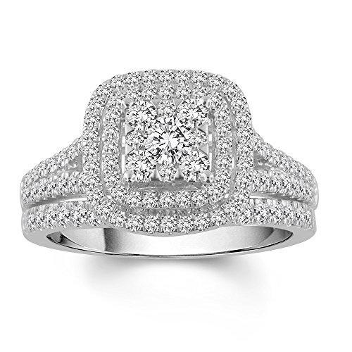 1.00 Cttw Square Frame Diamond Bridal Ring set in 10K White - Square Engagement Ring Diamond