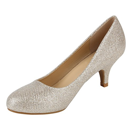 Stiefelparadies Damen Stiletto Pumps High Heels Glitzer Party Flandell Gold Creme Glitzer