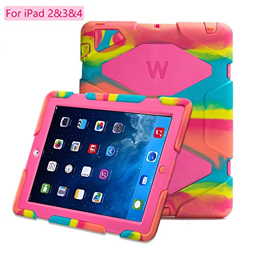Kidspr Protective Case with Built-in Screen Protector for Apple iPad 2/3/4 - Camouflage Pink by KIDSPR