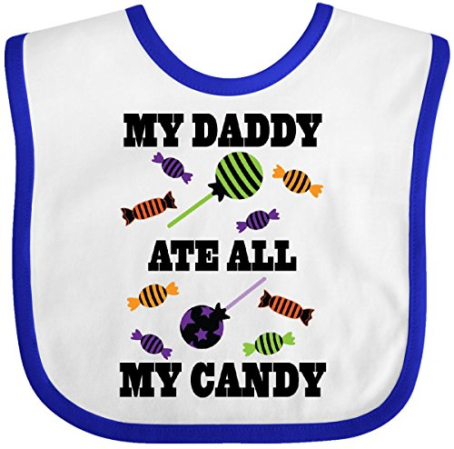 Inktastic - Halloween Funny Daddy Ate My Candy Baby Bib White/Royal