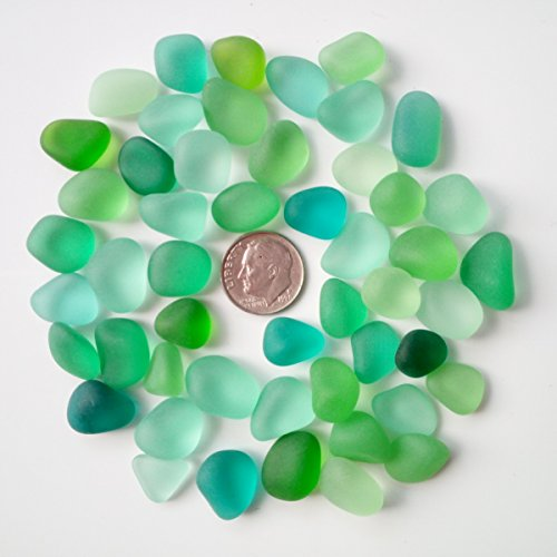 Sea Glass Beads / Beach Glass Beads For Jewelry Making ( Medium Size / 10-14 mm, Multicolored Green Lime Teal Light-green Mix, Not Drilled ) (20 (Green Beach Glass)