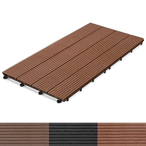casa pura® 11x Interlocking Wood Composite Deck Tiles, Royal   24