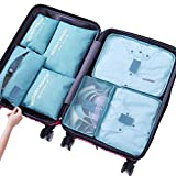 Sackorange 7 Set Travel Storage Bags Packing cubes Multi-functional Clothing Sorting Packages,Travel Packing Pouches,Luggage Organizer (Blue)